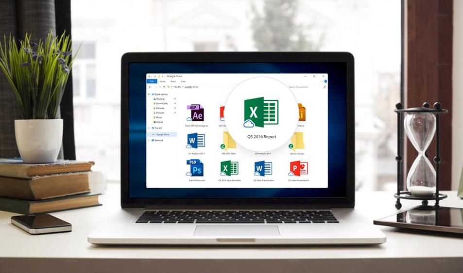 Skærmbillede af Windows med Google File Stream klienten i Stifinder