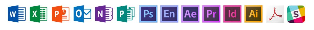 Forskellige apps fra Adobe og Microsoft