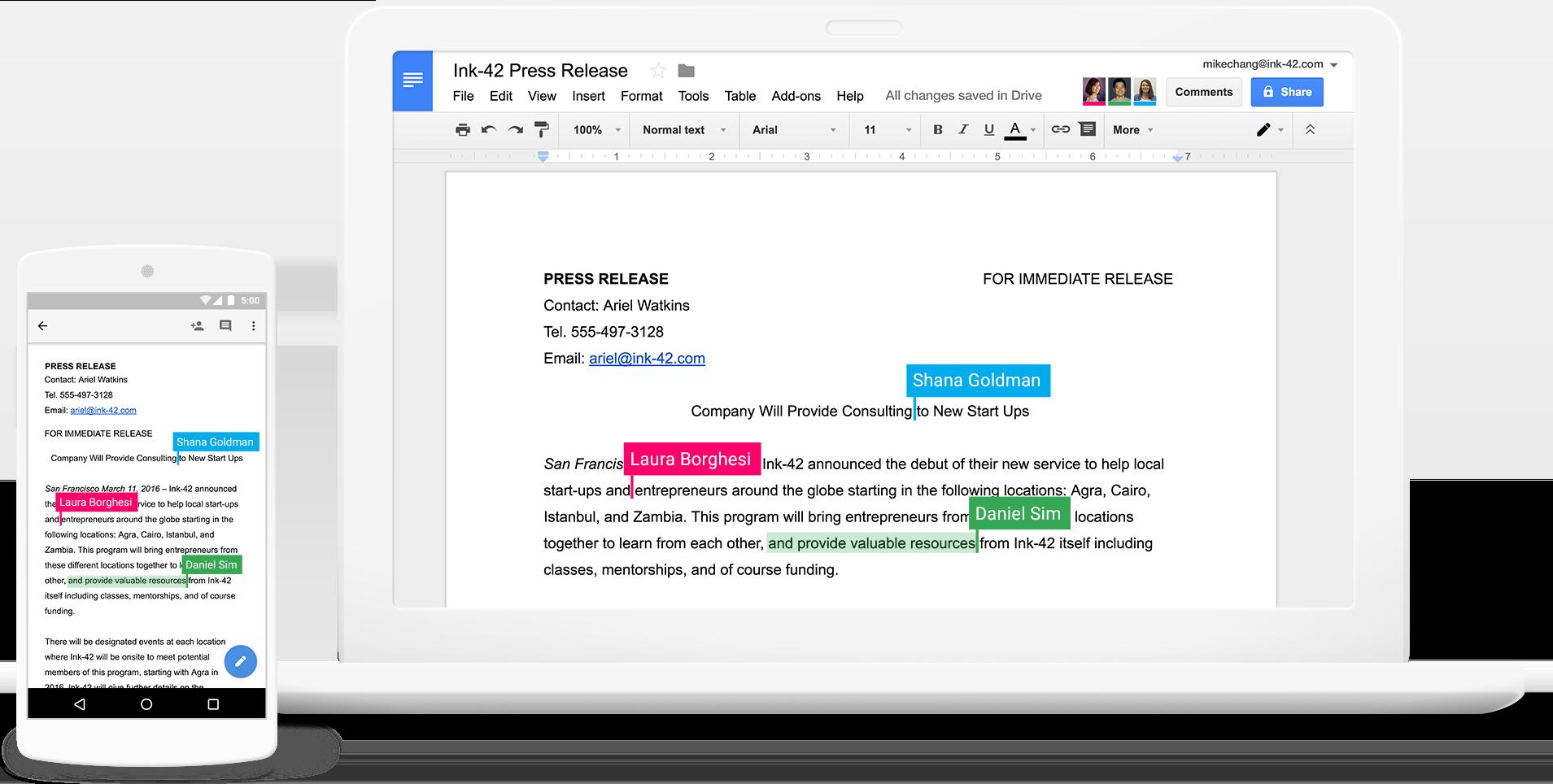 Skærmbillede af 3 personer der arbejder sammen i Google Docs i realtid
