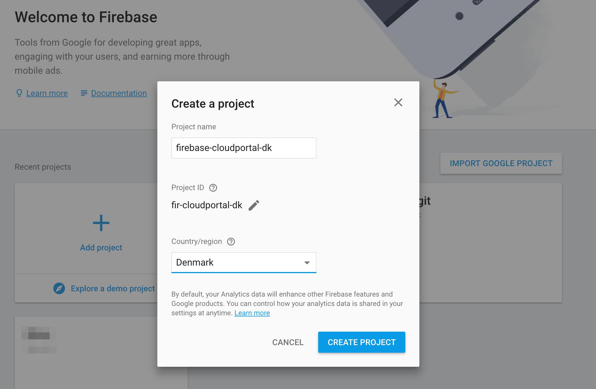 Firebase - Oprettelse af nyt projekt<