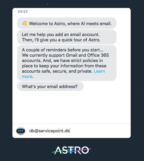 Astrobot spørger efter din e-mail adresse