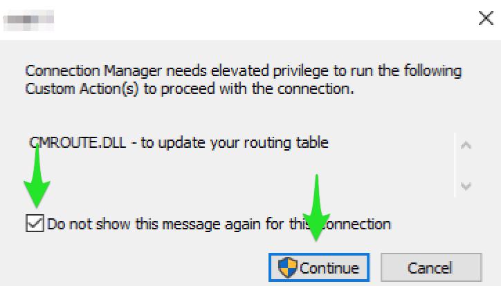 Aktivering af VPN forbindelse