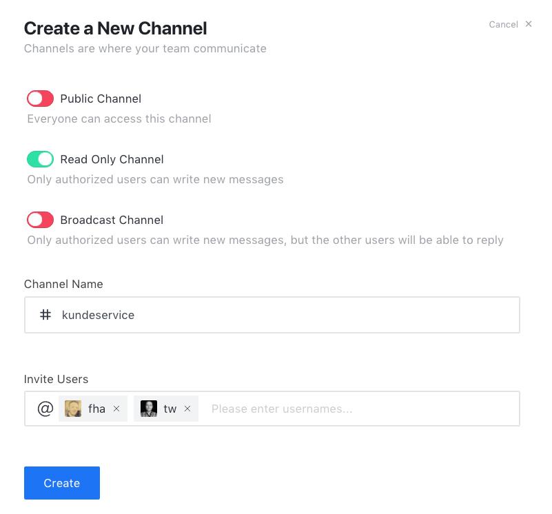 Opret ny kanal i Rocket.Chat fra Rocketchat.dk