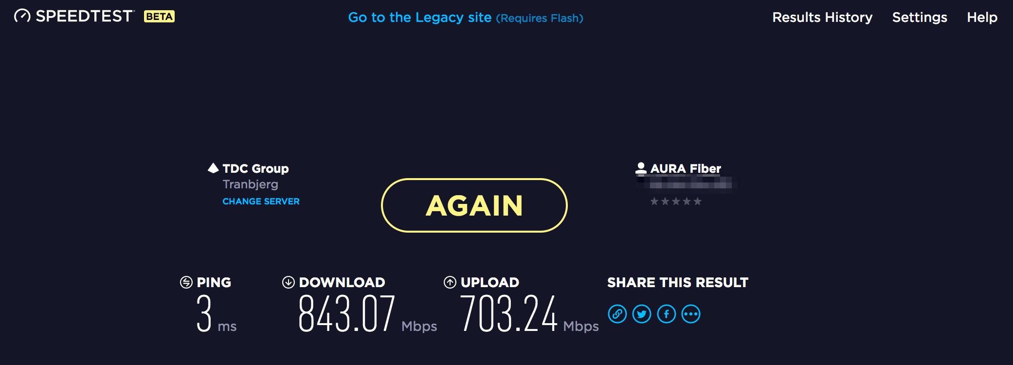 Skærmbillede af Speedtest med WiFi