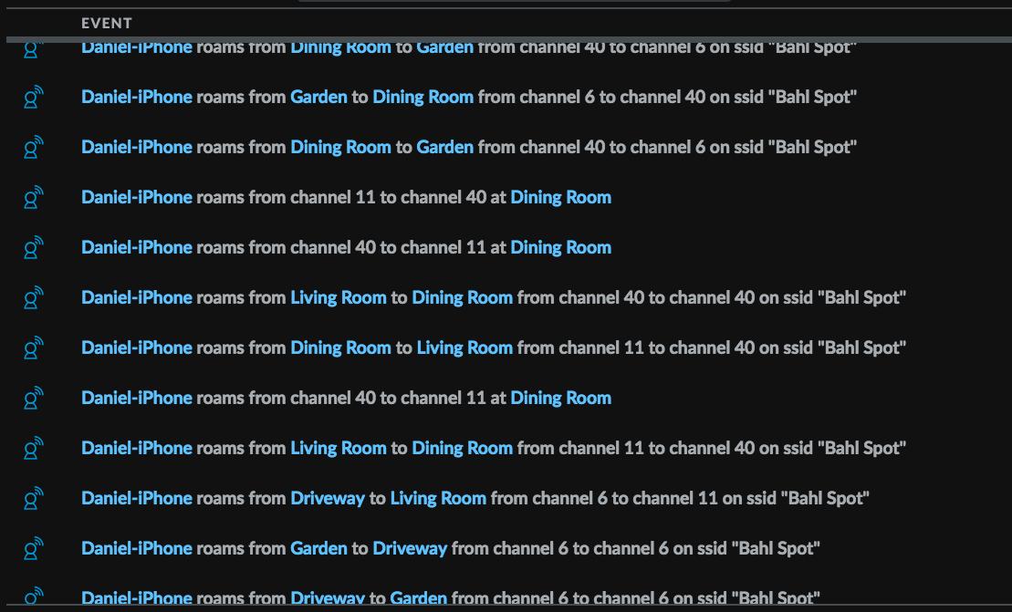 Skærmbillede af Event-log fra Unifi Controller med Client steering og Band steering