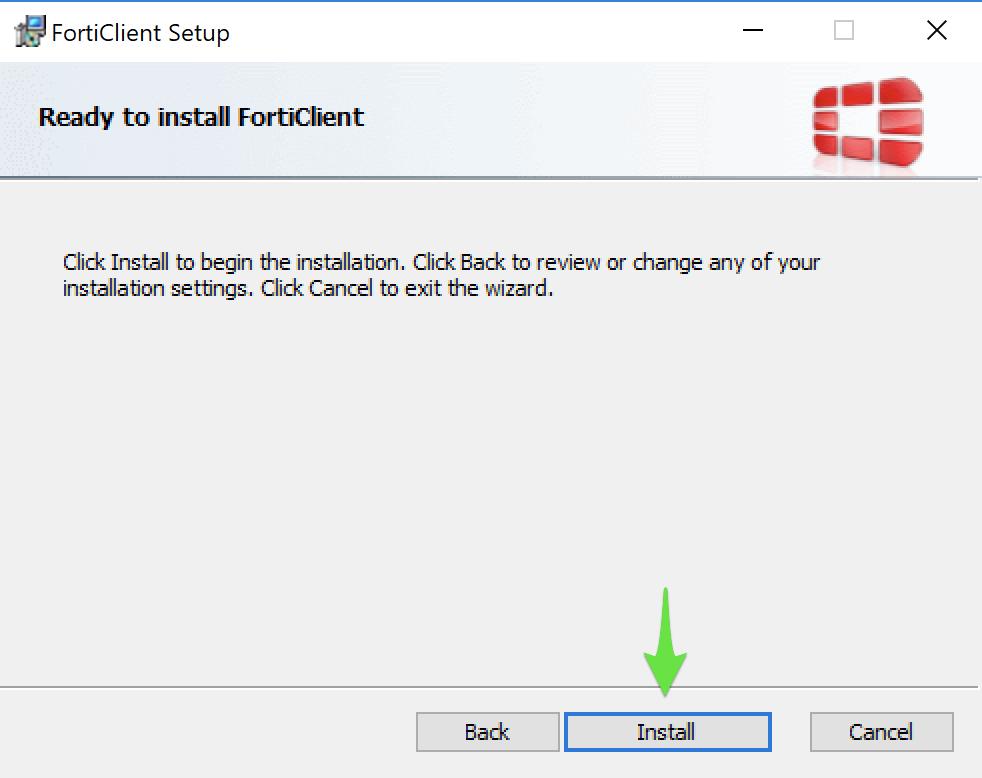 Godkend og start ServicePoint Vpn Client Services installationen