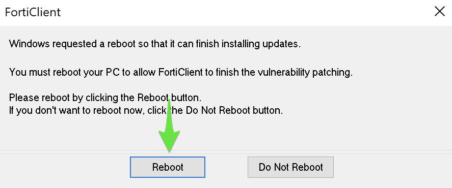 Afslut ServicePoint Vpn Client Services installationen og genstart maskinen