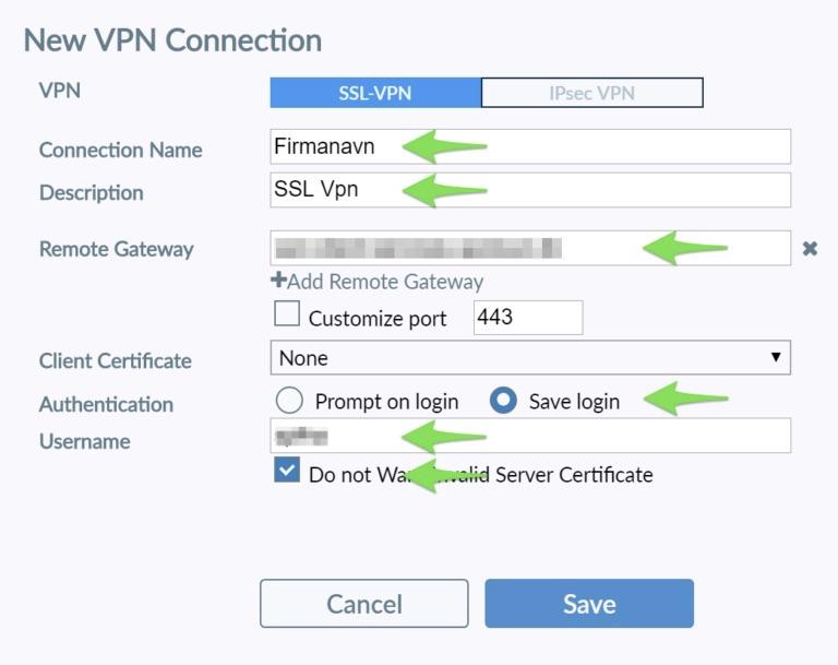 Indtast brugernavn, kodeord samt Remote Gateway